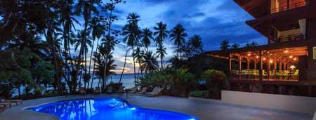 Playa Cativo pool at night