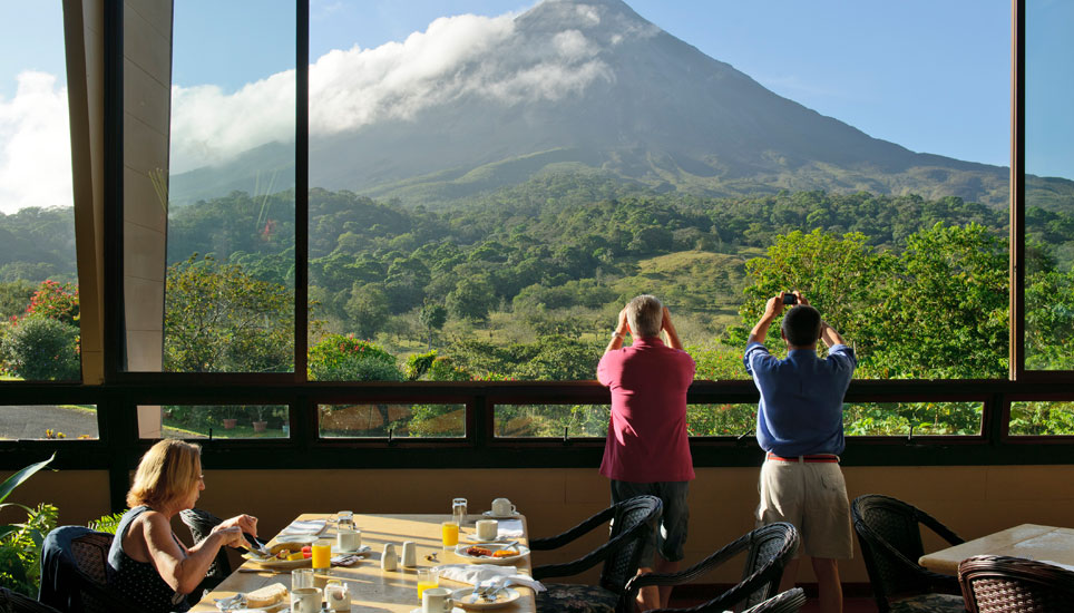 view of Arenal Volcano from Arenal Kioro viewing gallery