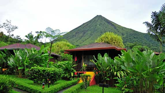 view of Arenal Volcano with exterior of room in the forground