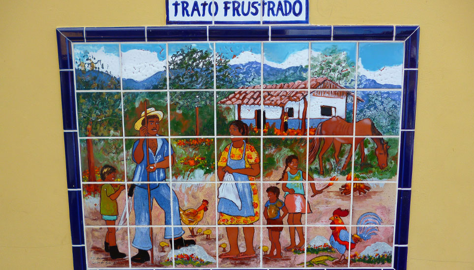 Hotel Don Carlos tiled picture of typical life in costa rica
