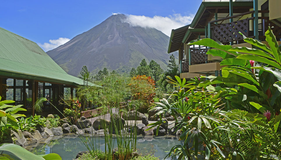 view from Arenal Observatory Lodge of Arenal Volcano
