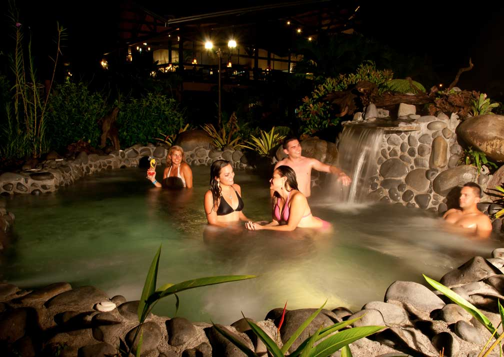 arenal springs pool at night